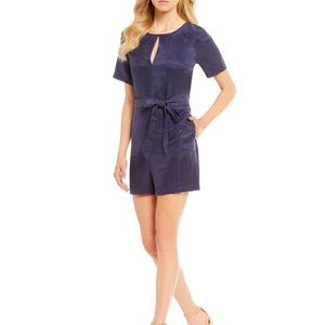 ANTHRO First monday tinsel belted navy romper M